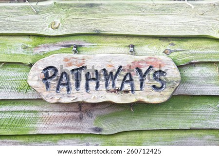 Wooden sign with pathways written on it - stock photo