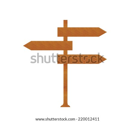 Wooden signal directions isolated on white background - stock photo