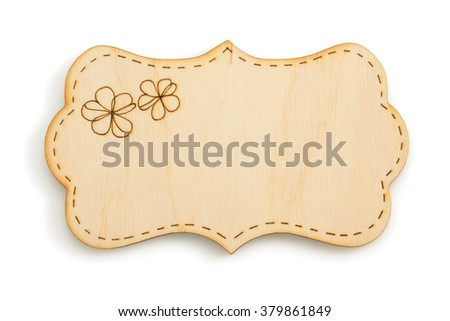 wooden signboard isolated on white background - stock photo
