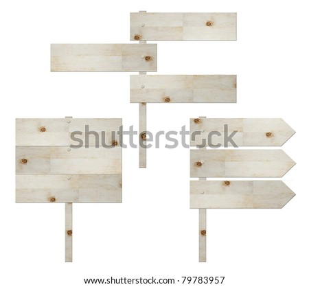 wooden signboard isolated on white , road sign - stock photo