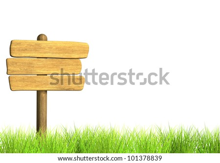 Wooden signboard. Object isolated over white - stock photo