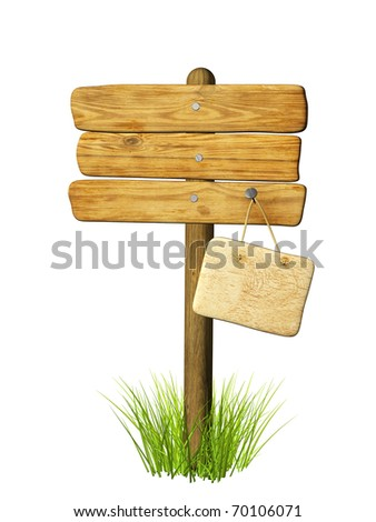 Wooden signboard. Object isolated over white