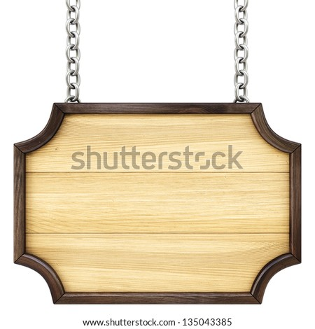 wooden signboard on the chains. Isolated on white. - stock photo