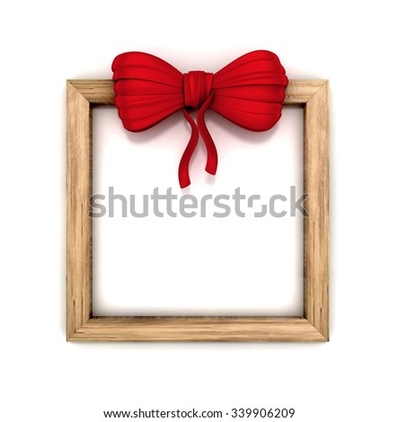 wooden signboard with red bow. 3d illustration isolated. - stock photo
