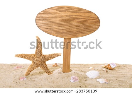Wooden signboard with sand isolated on white - stock photo