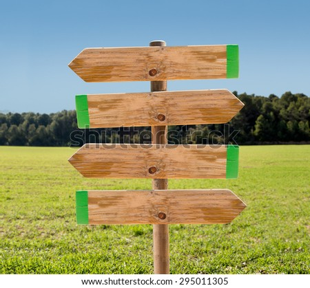 wooden signpost in the meadow with copyspace  - stock photo