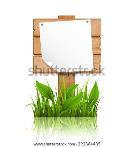 Wooden signpost with grass deflected paper and reflection on white background - stock photo