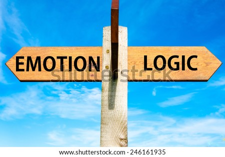 Wooden signpost with two opposite arrows over clear blue sky, Emotion versus Logic messages - stock photo