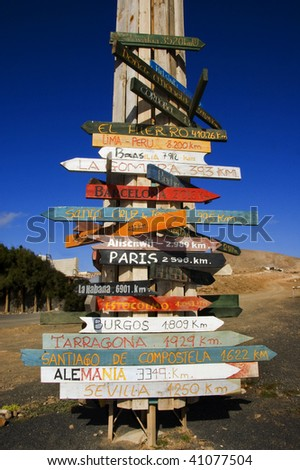 wooden signs in different parts of the world