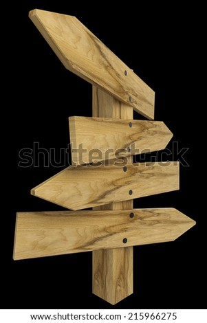 Wooden signs. isolated on black background. 3d illustration - stock photo