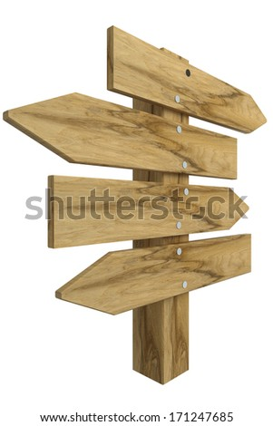 Wooden signs, isolated on white background. 3d - stock photo
