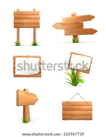 Wooden signs set, bitmap copy - stock photo