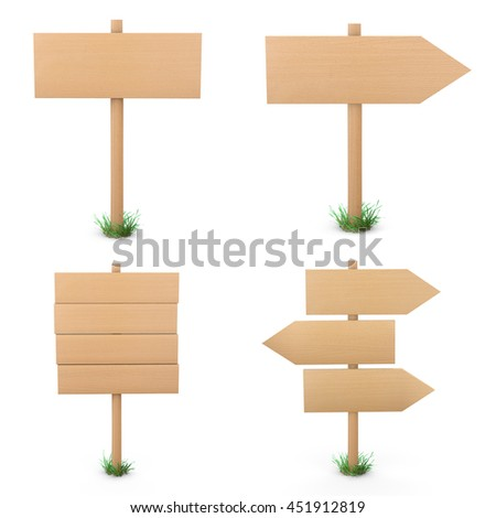 Wooden signs set 3d rendering - stock photo