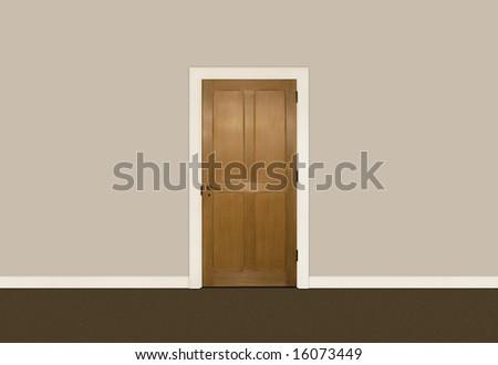Wooden single door against beige wall - stock photo