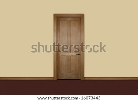 Wooden single door against yellow wall - stock photo