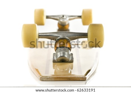 wooden skate board on a white background - stock photo