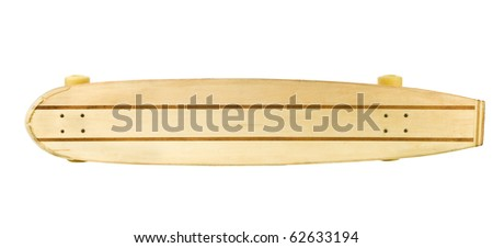 wooden skate board on a white background could be used for sign board - stock photo