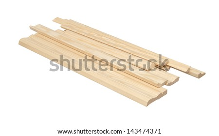 Wooden skirting boards isolated over white with clipping path. - stock photo