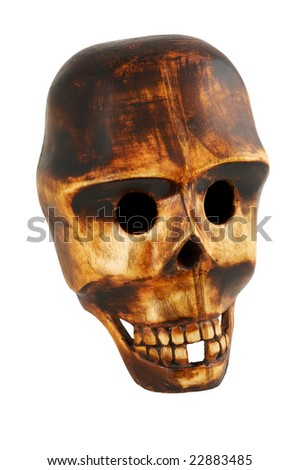 Wooden skull isolated on white with clipping path - stock photo