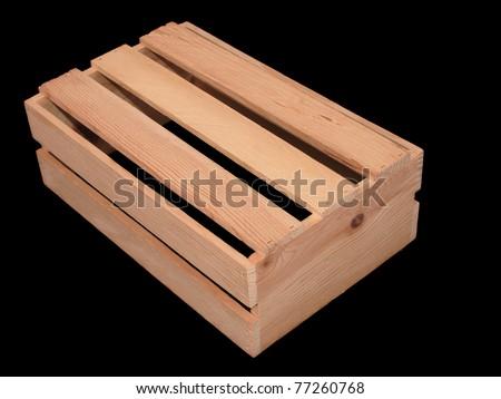 Wooden Slatted Box, black isolation. - stock photo