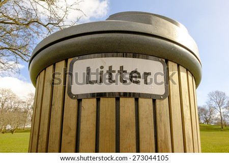 Wooden slatted litter bin in a public park, UK - stock photo