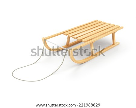 Wooden Sled isolated on white background - stock photo