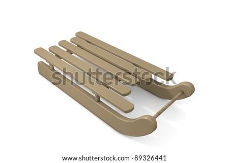 Wooden sled on white background - stock photo