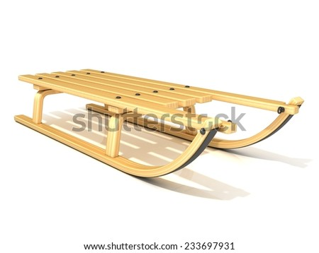Wooden sledge, 3D render, isolated on white background. - stock photo