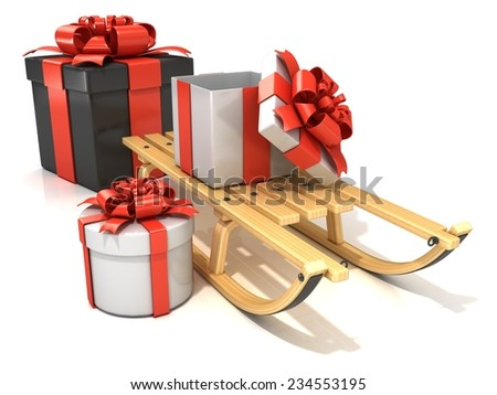 Wooden sledge with Christmas presents, 3D render, isolated on white background - stock photo