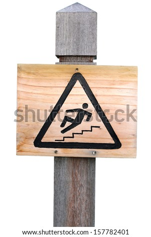 Wooden Slippery Surface sign - stock photo