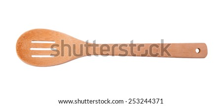 Wooden slotted spoon isolated on white - stock photo
