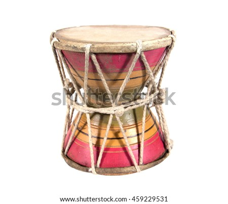 Wooden small drum Thailand style isolated on white background.Small drum isolated on white background - stock photo