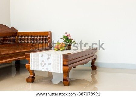 wooden sofa in living room - stock photo