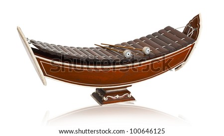 Wooden soprano xylophone, the Thai music instrument isolated on white  - stock photo