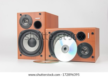 wooden sound speakers isolated on white background - stock photo