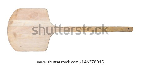 wooden spatula pizza on white background - stock photo