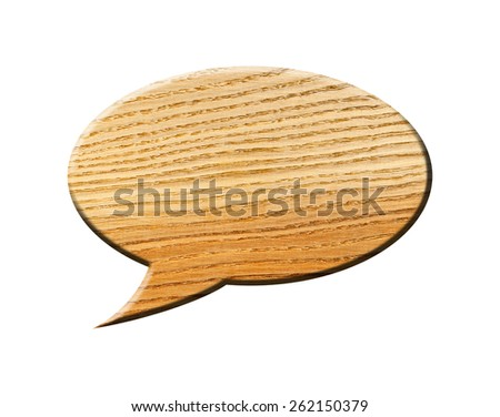 Wooden Speech Bubble, isolated on white background. The classic bubble - stock photo