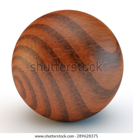 wooden sphere with a defective varnish covering - stock photo