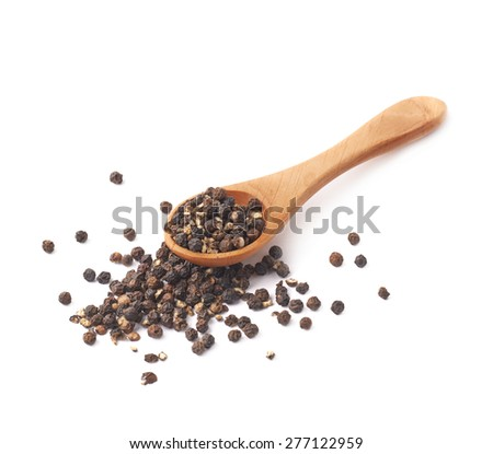 Wooden spoon and black peppercorn composition isolated over the white background - stock photo