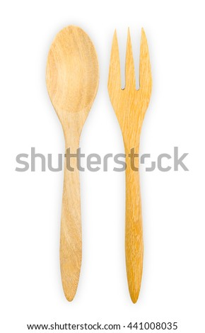 Wooden spoon,fork isolated on white background. File contains a clipping path. - stock photo