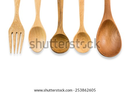 Wooden spoon isolated on white background,Clipping path included  - stock photo