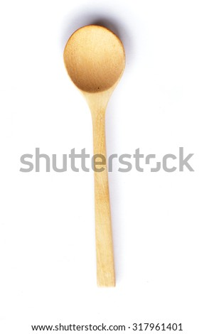 wooden spoon on white background.