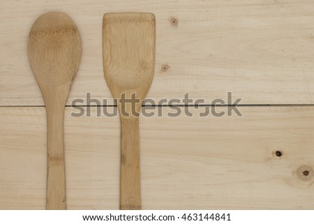 wooden spoon on wooden table.