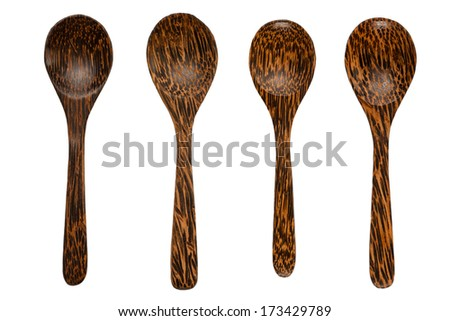 Wooden spoon set isolated on white background.
