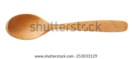 Wooden spoon / top-view photos of kitchen accessories - isolated on white background