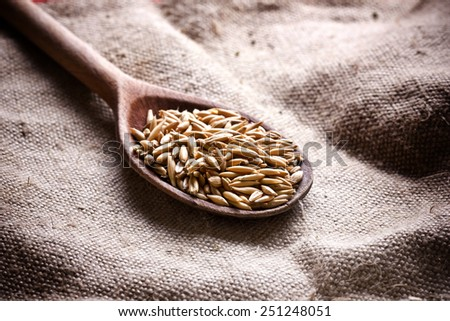 Wooden spoon with oat seeds on linen fabric. - stock photo
