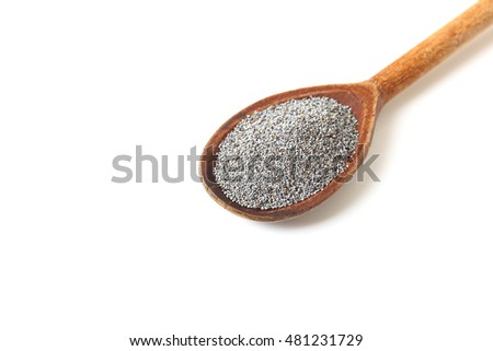 Wooden spoon with poppy seeds on a white background