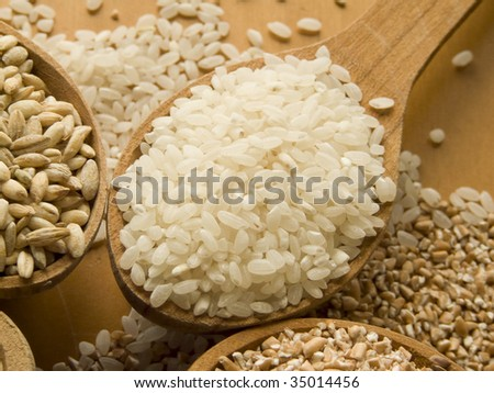 Wooden spoon with rice. Shallow DOF. - stock photo