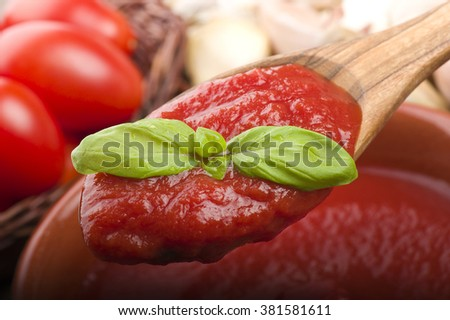 wooden spoon with tomato sauce and basil - stock photo