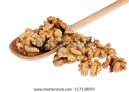 Wooden spoon with walnut, isolation on a white background - stock photo